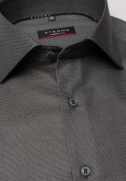 ETERNA CHEMISE À MANCHES LONGUES MODERN FIT TWILL ANTHRACITE FAUX-UNI