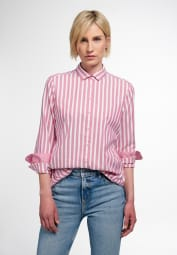 ETERNA CHEMISIER À MANCHES LONGUES MODERN CLASSIC UPCYCLING SHIRT OXFORD ROUGE RAYÉ