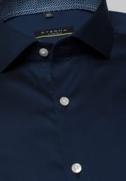 ETERNA CHEMISE À MANCHES LONGUES SUPER-SLIM PERFORMANCE SHIRT STRETCH BLEU MARINE UNI