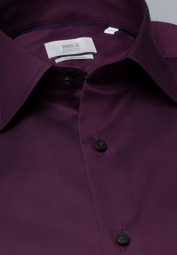ETERNA CHEMISE À MANCHES LONGUES MODERN FIT GENTLE SHIRT TWILL BOURGOGNE UNI