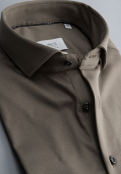 ETERNA CHEMISE À MANCHES LONGUES MODERN FIT SOFT TAILORING JERSEY TAUPE UNI