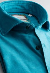 ETERNA CHEMISE À MANCHES LONGUES COMFORT FIT SOFT TAILORING TWILL TURQUOISE UNI