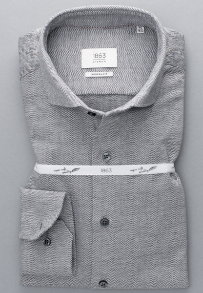 ETERNA CHEMISE À MANCHES LONGUES MODERN FIT JERSEY TAUPE MOTIF