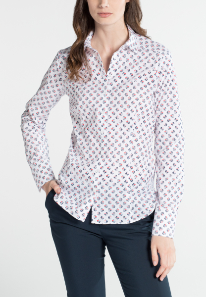 ETERNA CHEMISIER À MANCHES LONGUES SLIM FIT STRETCH ROUGE / BLANC / BLEU IMPRIMÉ