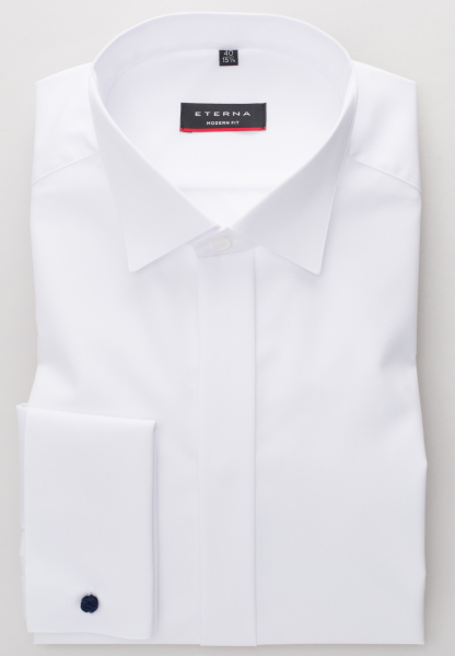 ETERNA CHEMISE À MANCHES LONGUES MODERN FIT CHAMBRAY BLANC UNI